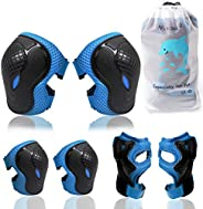 Elbow Pads and Knee Pads for Kids, Kids Protective Gear Elbow Pads with Wrist Guards &Adjustable Strap for