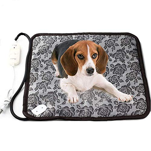 zswell Pet Electric Heating Pad for Dogs and Cats Waterproof Adjustable Anti-bite Steel Cord Dog Warm Bed Mat Heated Suitable for Pets Beds Pets Blankets and Kennel 17.7″x17.7″ Flower Color