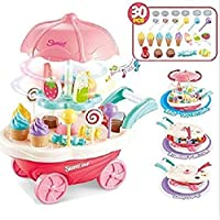 Nabhya Ice Cream Play Cart Kitchen Set Toy with Lights and Music, Small(30 Piece)