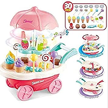Buy Nabhya Ice Cream Play Cart Kitchen Set Toy With Lights And
