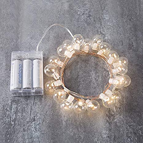 AKDSteel 20LEDs//50LEDs Copper Wire Round Ball Bulb Shape String Light Battery Powered Warm White 2 Meters 20 Lights Colored Beads
