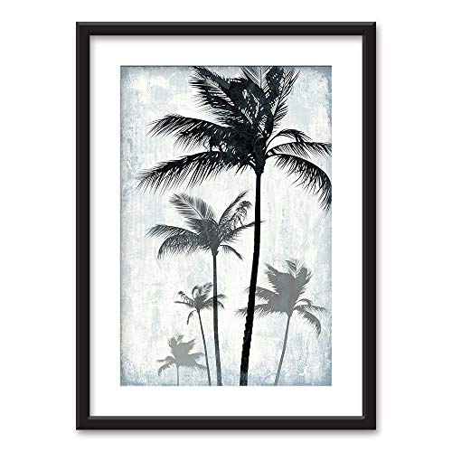 Framed Palm Trees on Retro Style Background Black Picture Frames with White Matting