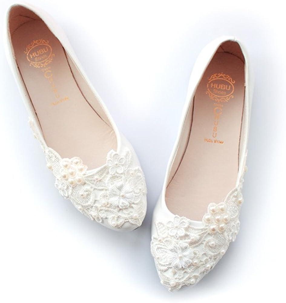 Amazon Com Women S Wedding Bridal Dress Lace Pearls Ballet Flats