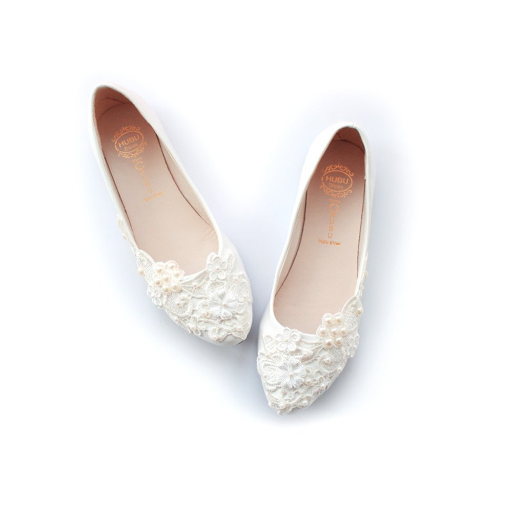 Women's Wedding Bridal Dress Lace Pearls Ballet Flats Shoes B07DVTTGM7 9.5 B(M) US