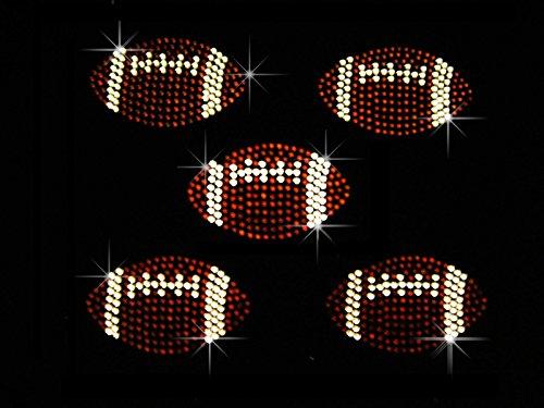 (A Set 5 Small Football Balls Rhinestone Iron on Hotfix Transfer Bling DIY)
