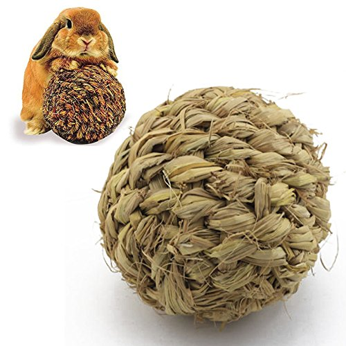 10cm Pet Chew Toy Natural Grass Ball with Bell for Rabbit Hamster Guinea Pig for Tooth Cleaning