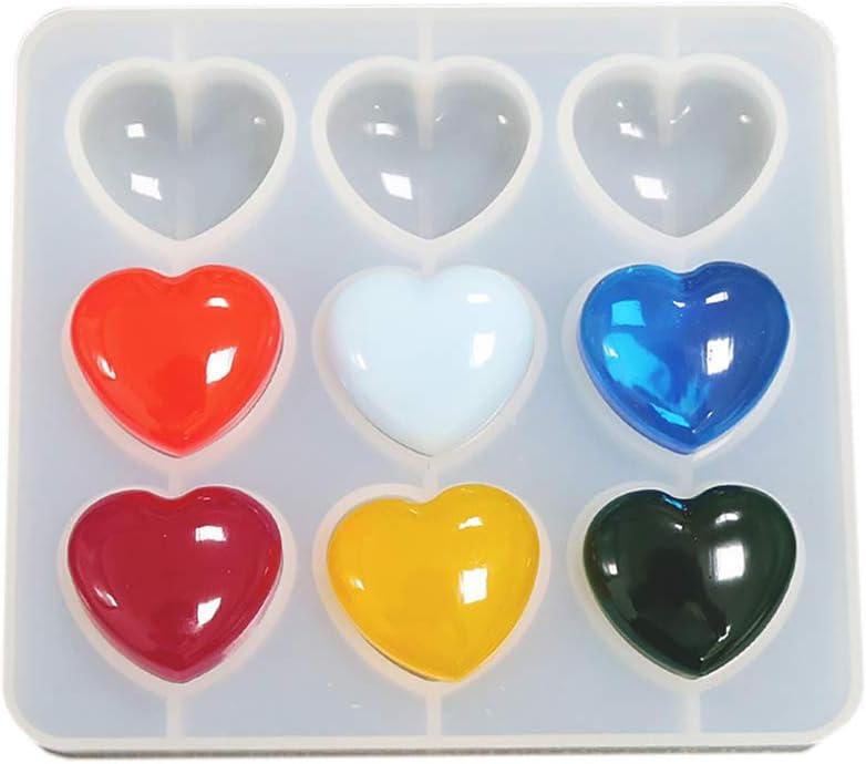 resin molds Mold Silicone Hearts-Silicone Heart mold-9 cavity shiny-epoxy