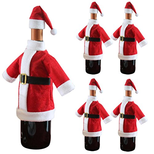 Iuhan Wine Bottle Cover Bags Decoration Home Party Santa Claus Clothes Hat Christmas (5)