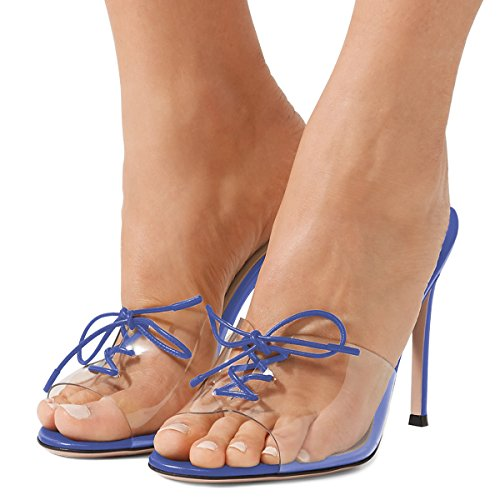 Slate up Clear Mules US Toe FSJ Lace Heels 4 Women Sandals Blue Party Stiletto High 15 Size Peep Sexy Shoes zxxUqBP