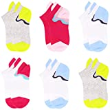 IMOZY Girls' No Show Socks- Low-Cut Ankle Socks with Tab Y Heel- Athlete Sports Socks- 6 Pack Size 10.5-13.5 for Little Kids