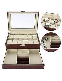 483994156632 TMISHION Caja de Relojes Hombre Mujer con 12 Compartimientos