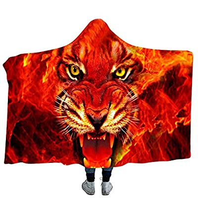 YJZ Tiger 3D Hooded Blanket Soft Sherpa Fleece Blankets for Adults Cozy Bathrobes Cloak Hood Bath Blanket with Hood,4,Adults
