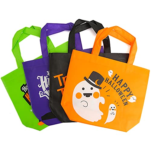 Shindel 24 PCS Halloween Non-Woven Bags, Halloween Treat Goody Tote Bags, Tick or Treat Gift Bags, Candy Bags with Handles for Halloween Party Favors