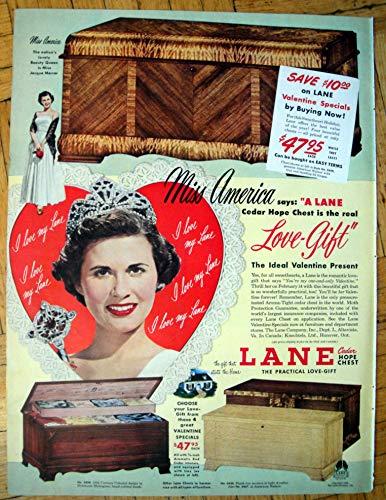 1950 Lane Cedar Hope Chest -Miss America $47.95-Original 13.5 * 10.5 Magazine Ad