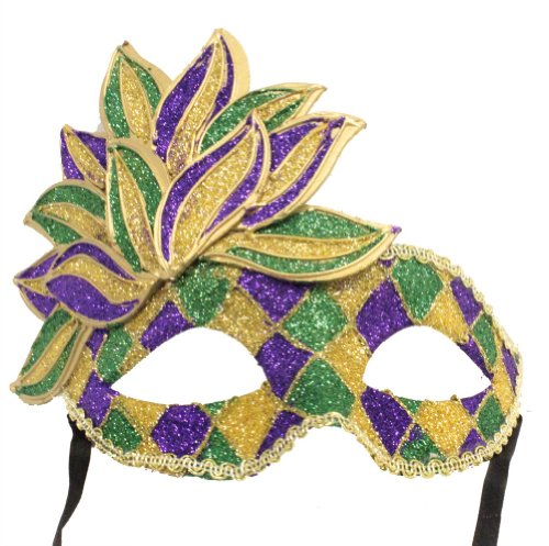 RedSkyTrader Mens Sparkling Mardi Gras Mask One Size Fits Most Multicoloured for $<!--$12.66-->