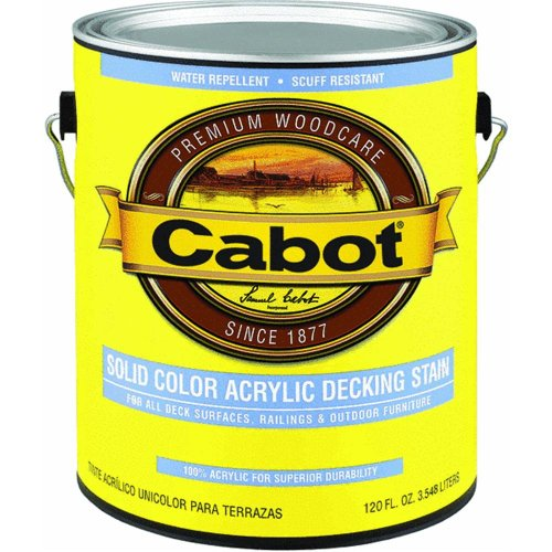 - Cabot 01-1880 Solid Color Acrylic Decking Stain, 1 Gallon (Pack Of 4)