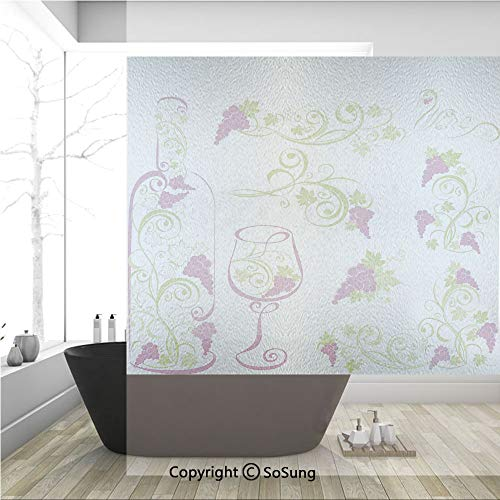 3D Decorative Privacy Window Films,Wine Bottle and Glass Grapevines Lettering with Swirled Branches Lines Decorative,No-Glue Self Static Cling Glass film for Home Bedroom Bathroom Kitchen Office 36x36