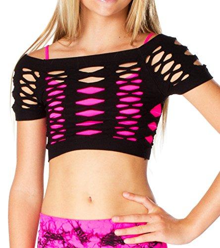 Top Bra Malibu - Malibu Sugar Girls (7-14) Short Sleeve Malibu Mesh Top One Size Black