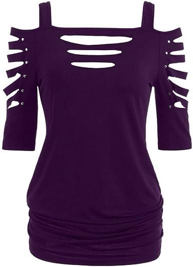 K-Youth Camisetas Mujer Tirantes Verano Talla Grande Camisa Mujer Hueco Mangas Corta Camisetas para Mujer Casual Blusa Sexy Mujer Tops T-Shirt Chic ...