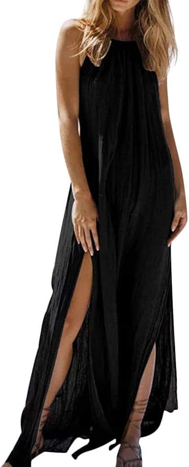 Poachers Vestidos Verano Mujer 2019 Vestidos de Fiesta Mujer Largos Elegantes Vestidos Mujer Casual Ceremonia Eventos Boda Vestidos playeros Mujer Talla Grande Backless Algodón y Lino: Amazon.es: Ropa y accesorios