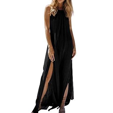 6b5938d022 Yucode Women's Solid Halter Neck Backless Sleeveless Plain Maxi Dresses  Tunic Long Dress Cocktail Party Dresses