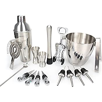 Set Stainless Steel Cocktail Includes 24oz Martini Shaker 50oz Ice Bucket Double Size Jiggers And Other Essential Bartending Bar Tools