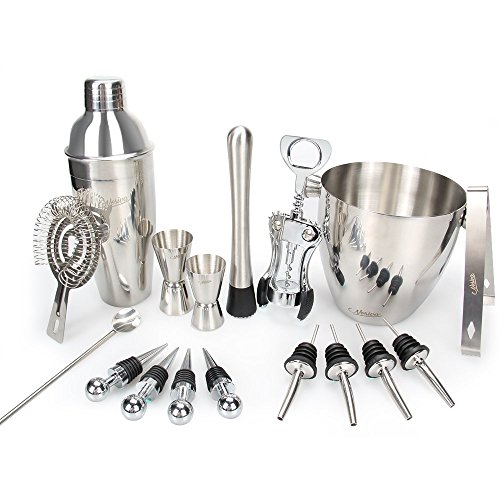 Bar Set, 17 Pieces Bartender Kit Cocktail Bar Set Stainless Steel Cocktail Set includes 24oz Martini Cocktail Shaker, 50oz Ice Bucket, Double Size Jiggers and other Essential Bartending Bar Tools by Nosiva