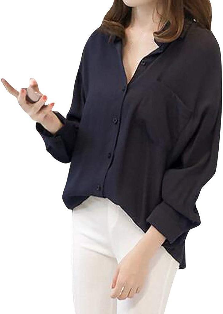 OPAKY Camisas Mujer Blusa con Botones Camisetas Tallas Grandes Túnica Color Puro Manga Larga Sexy Tops Cuello en V Sexy Tops Camisas De Vestir Moda Casual Solapa Color Puro Señoras Blusa Superior: