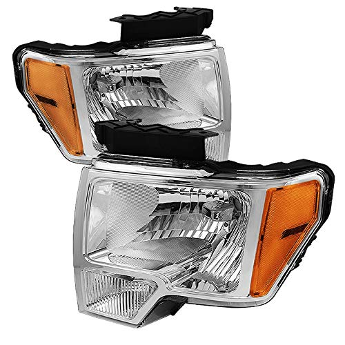 Xtune for 2009-2014 F150 Chrome Headlights w/Amber Reflector Front Lamps Direct Pair Left+Right/2010 2011 2012 2013