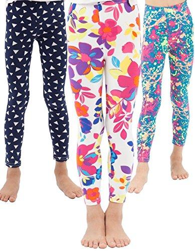 (WEWINK PLUS Girls Toddler Leggings Pants 3 Pack Stretchy Printing Flower Classic Leggings for Kids (Style B, 8-9)