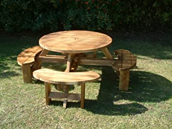 Picnic Table Seater Round Pub Bench Garden Furniture Amazoncouk - 8 seater round picnic table