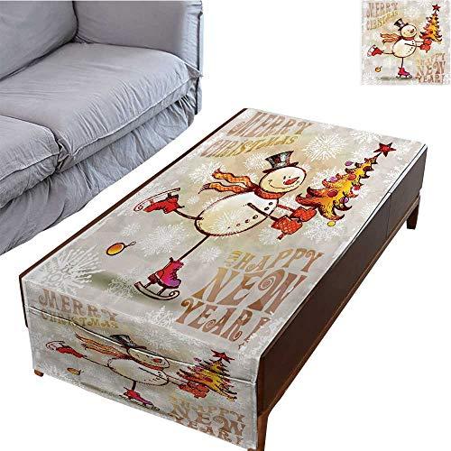(DESPKON-HOME Table Cloth Rectangular Side Pocket Design Sk G Happy Snowman Christmas Tree Cheerful Drawn ORN E 23.6