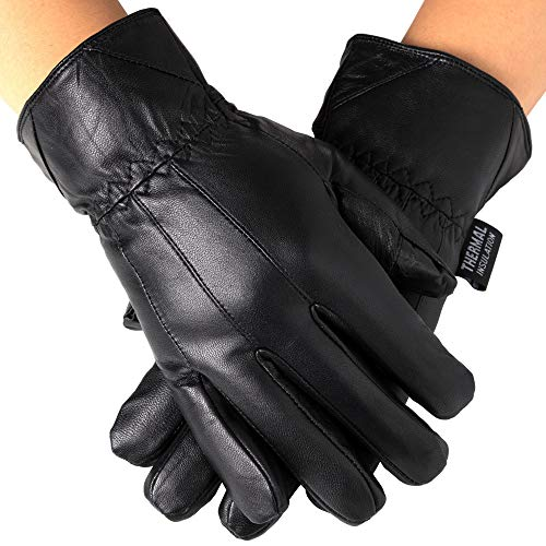 Mens Leather Smartphone Dress Gloves for Touch Screen iPhone Android Tablet, Large, Black (Dress Gloves Leather Mens)