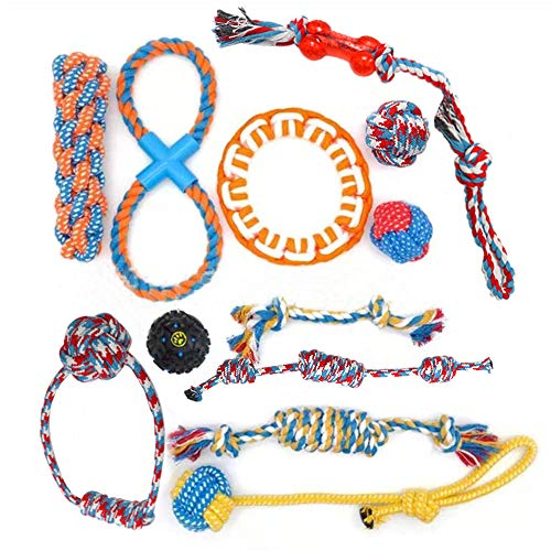 Dog Rope Dog Chew Toys for Puppies Teething, 12 Pack Natural Cotton Dog Rope Toys with Ball Knot Tug of War Dog Toy