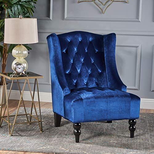 Christopher Knight Home Talisa | Tall Winged Tufted New Velvet Accent Chair |, Navy Blue