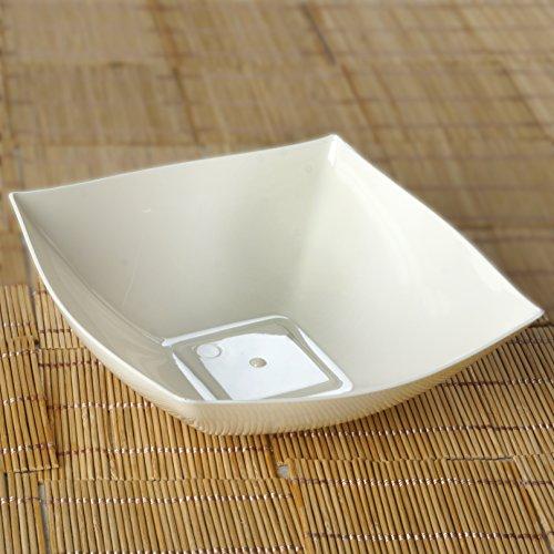 - Efavormart 20 Pcs - Ivory Square 32oz Disposable Plastic Serving Bowl Tableware For Wedding Banquet Event Party Decoration