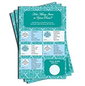 What's In Your Purse Game - Baby Shower - Bridal Shower - Blue Teal Damask (50-sheets)