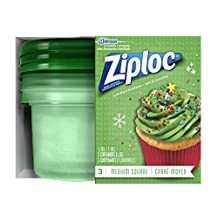 Ziploc Holiday Containers - Medium Square, Green, 3 Count