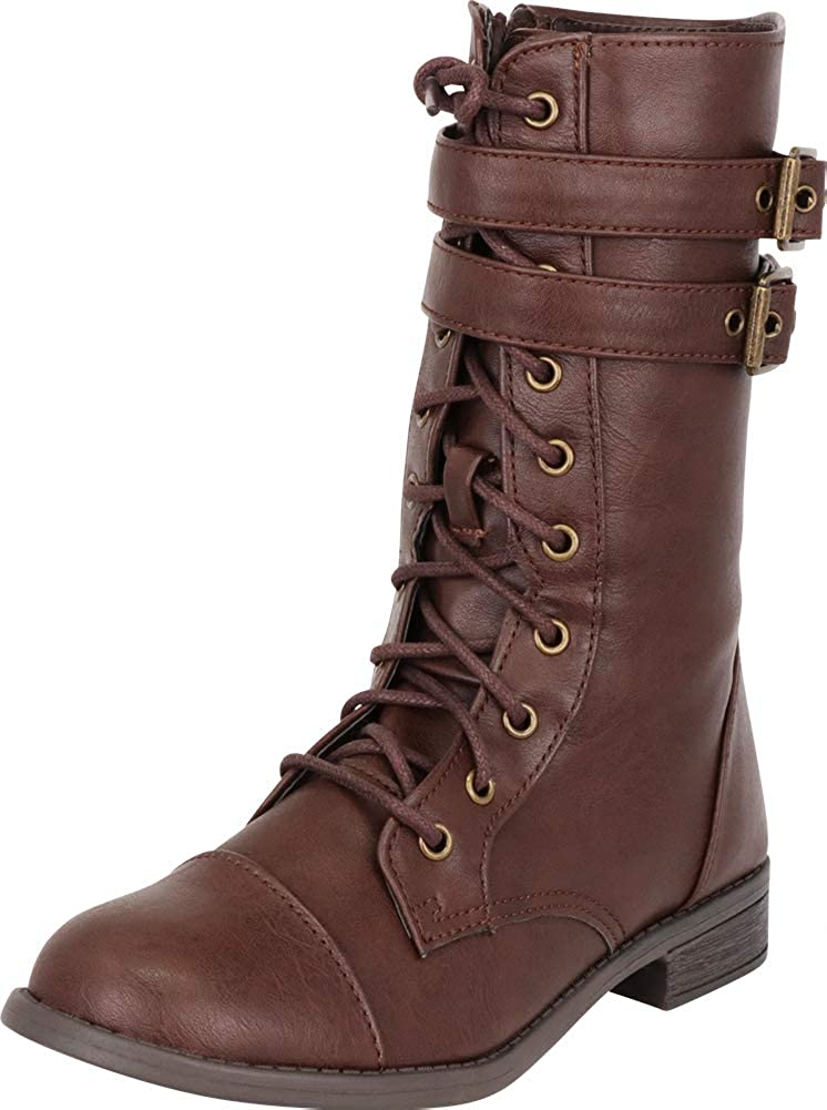 Brown Pu Cambridge Select Women's Strappy Double Buckle Lace-Up Low Heel Combat Boot