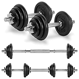 JLL 20kg Cast Iron Dumbbell & Barbell Set 2019, 4x 0.5k...