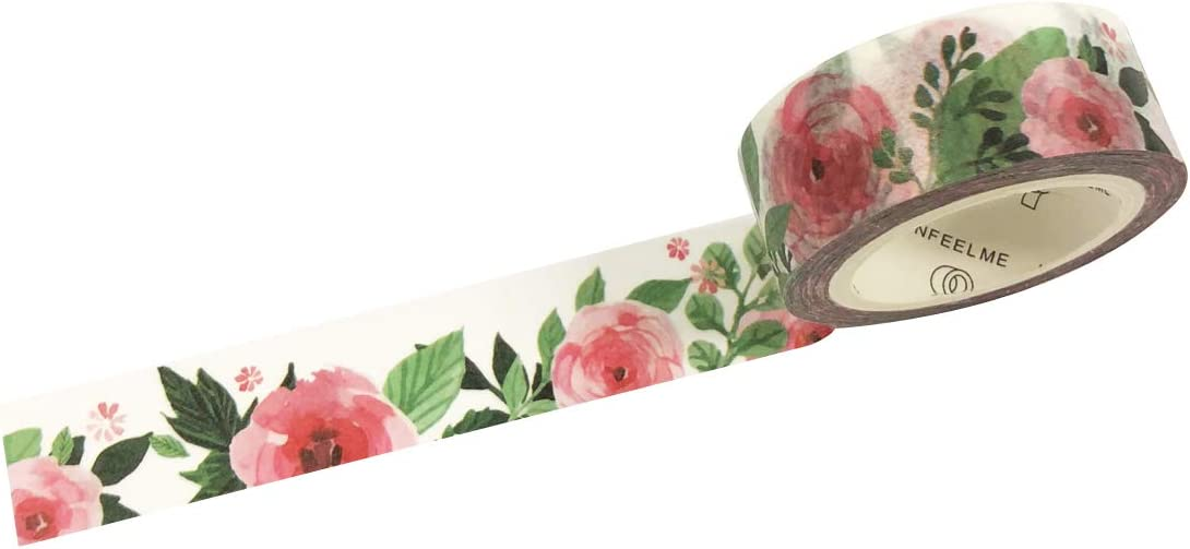 Japanese WASHI Tape ~ 10m x 15mm ~ Pale /& Dark PINK ROSES REDUCED