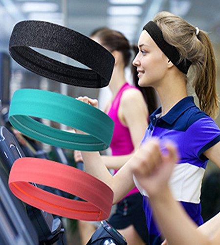 Genuiskids Unisex Sport Headband Yoga Sweatband Moisture Wicking Workout Stretch Elastic Non Slip Casual Headwear