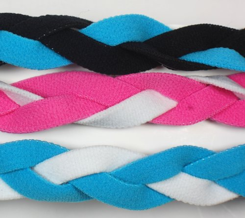 3 PACK! Extreme Sports Braided Mini NON SLIP Sports Headband (Black Light Blue-Pink White-Light Blue White) by Extreme (3 Pack Mini Headbands)