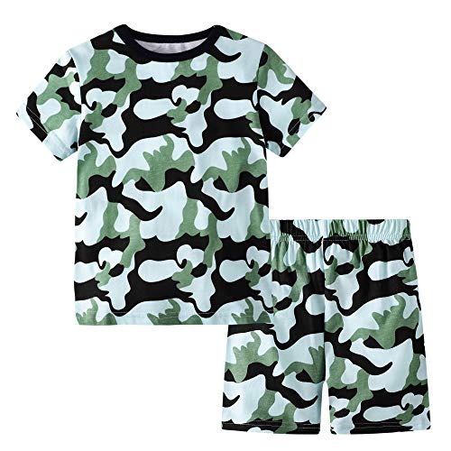 Little Boys Summer Clothes Cotton Outfits T-Shirt Tee & Shorts Set Camouflage 7t