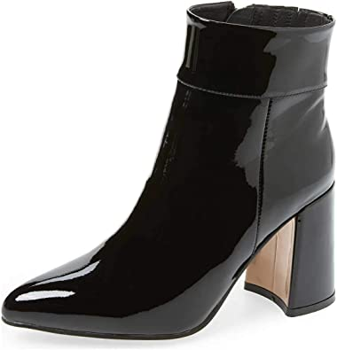 Womens Ladies Ankle Boots Zip High Block Heel Buckle Elastic Casual Shoes Size
