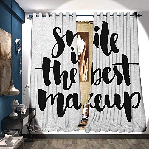 Blackout Window Curtain Smile is The Best Makeup Inspirational Phrase Hand Written Daily Motivations Decor Curtains by W84 x L84 Black and -