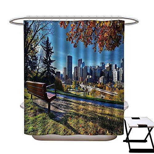 - City Shower Curtains Fabric Park Bench Overlooking The Skyline of Calgary Alberta During Autumn Tranquil Urban Bathroom Decor Set with Hooks W48 x L84 Multicolor