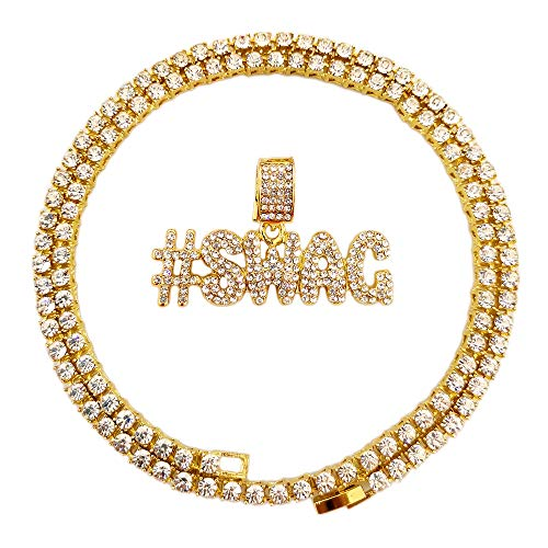 - HH Bling Empire Hip Hop Iced Out Gold Faux Diamond Bubble Dripping Full Name Letters Tennis Chain 20 Inch (#Swag)