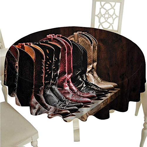 cashewii Western Flow Spillproof Fabric Tablecloth Photograph of Various Type of Rodeo Fancy Cowgirl Leather Boots Collection Image Art Waterproof/Oil-Proof/Spill-Proof Tabletop Protector D60 Brown