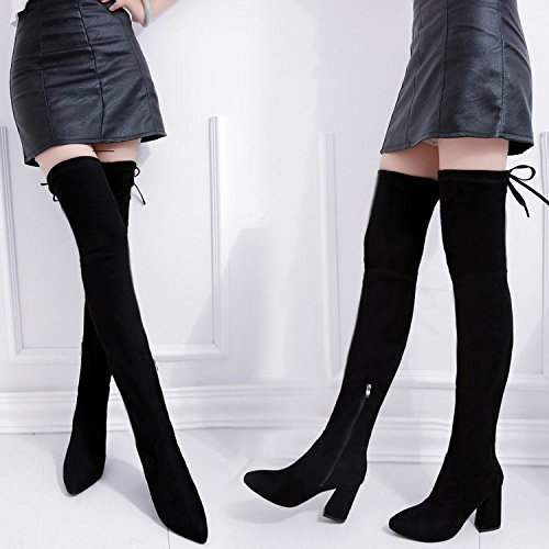 FANG-STUDIO Women's Knees, High Heels, Boots, Thin Legs, Boots, Women's High Boots, European and American Fashion,Black,UK4.5-5